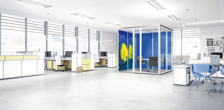 Raum-in-Raum-Systeme, Akustik, Raumgestaltung, Mittelzone, Meeting-Point, Besprechungsraum, Open Space Office, Ruhezone, besprechen, treffen, Kaffee