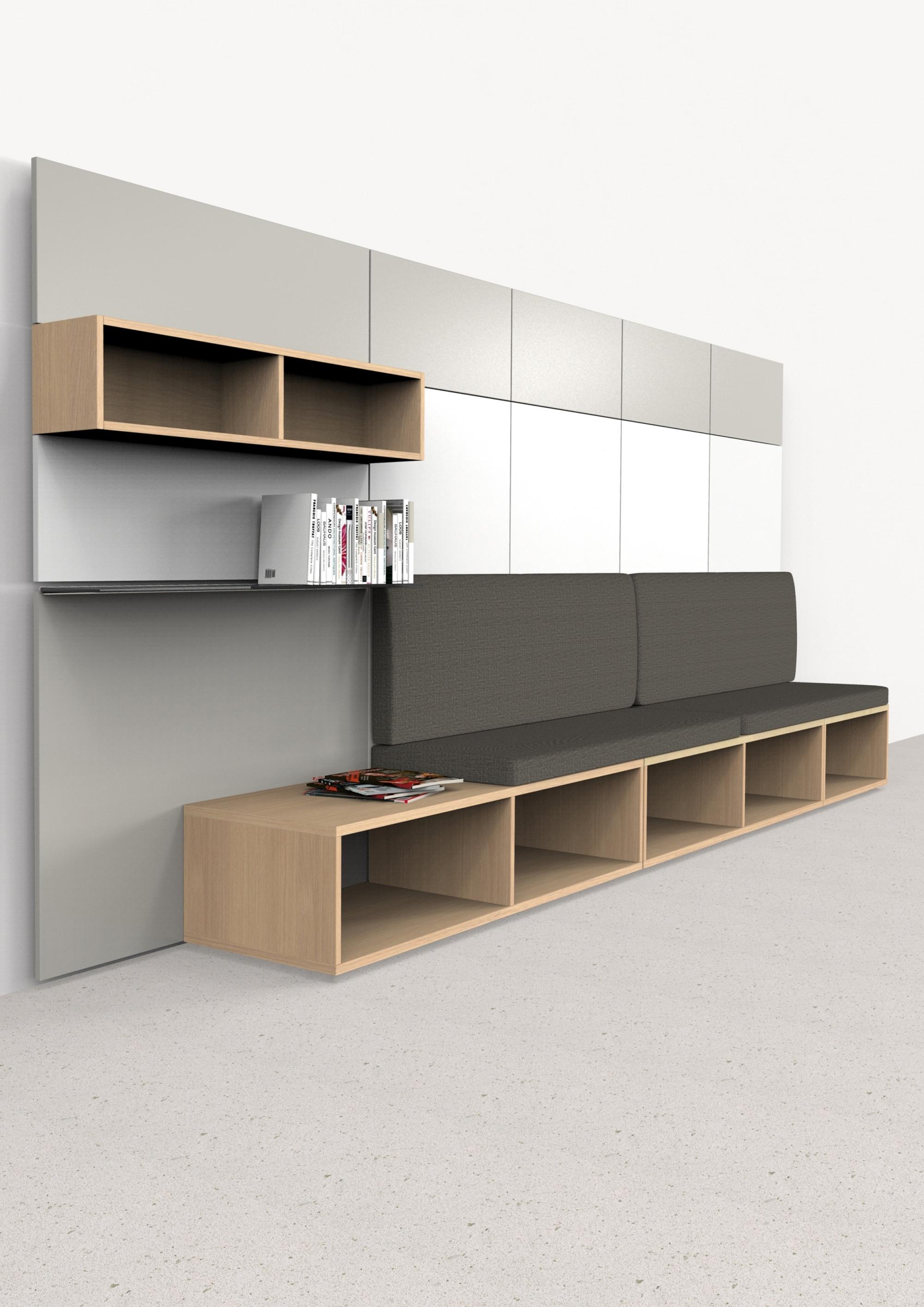 hali Büromöbel, pre wall 50, pw50, Vorsatzwand, Vorschsatzschale, Bücherboard, Fach, stay, Sitzbank,