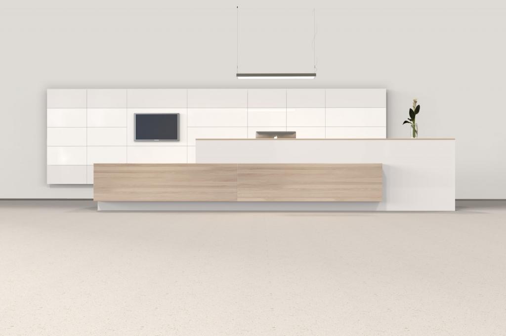 hali Büromöbel, pre wall 50, pw50, Vorsatzwand, Vorschsatzschale, Empfang, Pult, Empfangspult