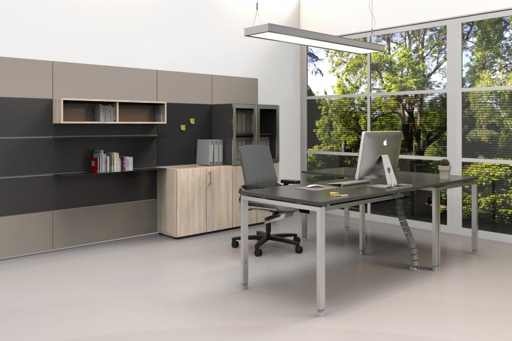 hali Büromöbel, pre wall 50, pw50, Vorsatzwand, Vorschsatzschale, Fach, box, Drehtürenschrank, Rechtecktisch, s456