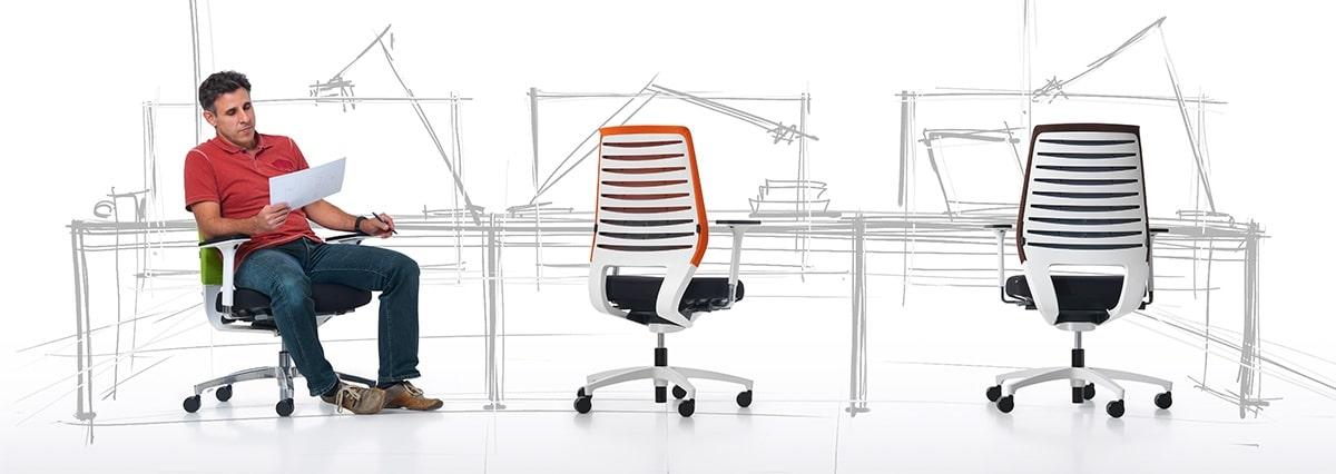 Drehstuhl, ergonomisch, sitzen, einstellbar, Synchronmechanik, Dauphin