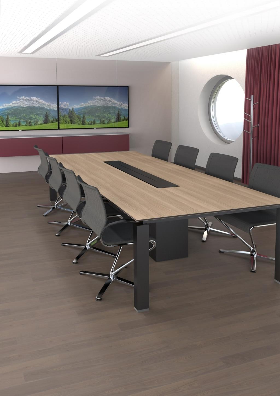 Besprechungstisch der Serie s800 mit schwarzem Tischgestell, Tischplatte in Schlammgrau und Stromanschlüsse sowie Datenübertragungskabel versteckt in einer Kabelklappe.