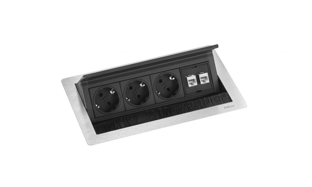 hali Büromöbel, FlipTop Push, Kabelmanagement, Verkabelung, Kabel, Einbau, Tischplatte