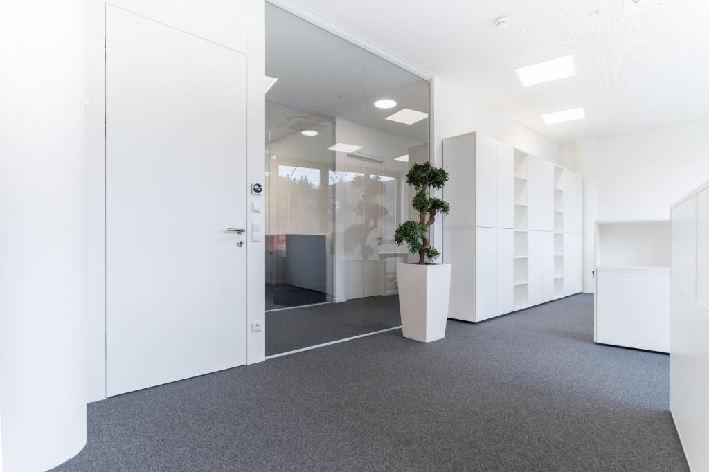 Büroraum mit Push-to-open Drehtürenschränken und Regalen in Melamin weiß sowie Apothekerschrank und Bürobegrünung.