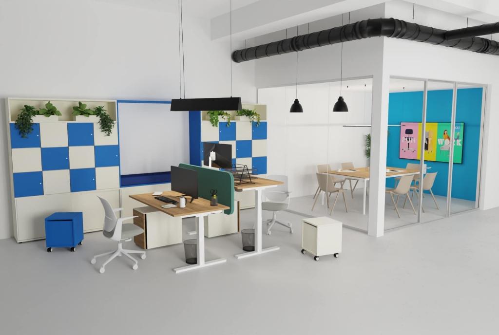 New Office Szene mit Doppelarbeitsplatz und abgetrennten Meetingbereich.