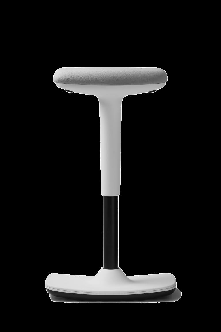 Freisteller Hocker to-swift von Trendoffice in weiß mit grauem Sitzpolster