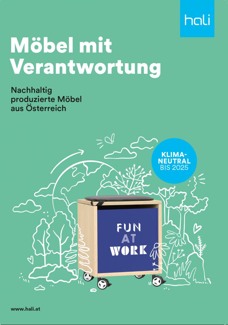 Titelblatt des hali Nachhaltigkeitsflyers in Grün.