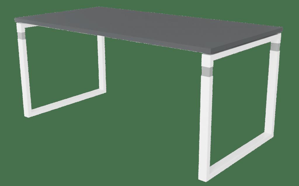 Arbeitstisch der Serie s500 von hali mit O-Fuß Tischgestell in weiß und Tischplatte in Melamin dunkelgrau.