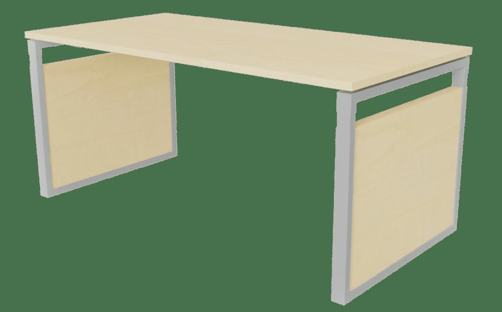 Arbeitstisch der Serie s500 von hali mit O-Fuß Tischgestell in Aluminium und Tischplatte sowie Seitenblenden in Melamin Ahornoptik.