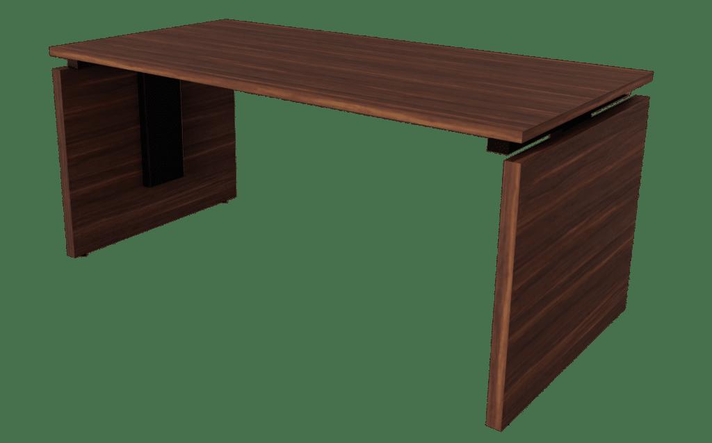 Hochwertiger Arbeitstisch der Serie s500 von hali mit einem Tischgestell bestehend aus zwei Melaminplatten sowie einer Tischplatte in Nussoptik. Die Verbindungsteile sind in schwarz gehalten.