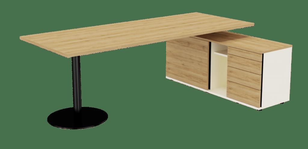 Sitz-Steh-Tisch der Serie s500 von hali mit Tischfuss in schwarz und Tischplatte Melamin Eichenoptik. Der integrierte Stauraum, bestehend aus einem Ladenregal, einem Regal und einem Drehtürenschrank sind in Melamin champagnerweiß und Eichenoptik gehalten.