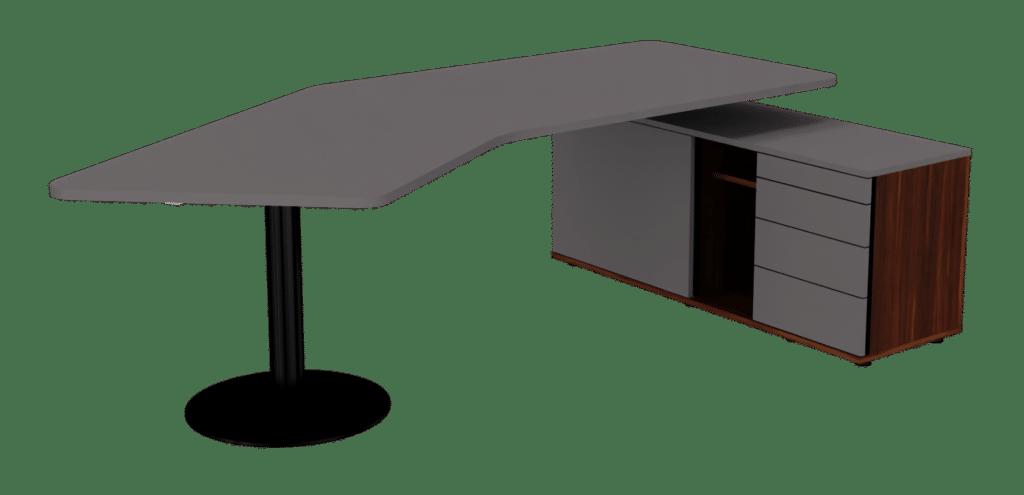 Consultertisch der Serie s500 von hali mit Tischfuss in schwarz und Tischplatte Melamin dunkelgrau. Der integrierte Stauraum, bestehend aus einem Ladenregal, einem Regal und einem Drehtürenschrank sind in Melamin dunkelgrau und Nussoptik gehalten.