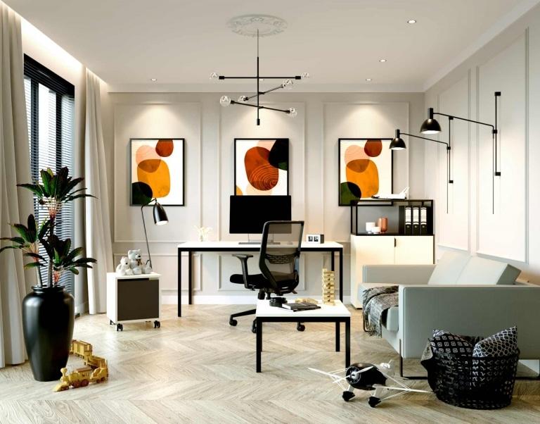 Helles Homeoffice mit orangen Bildern