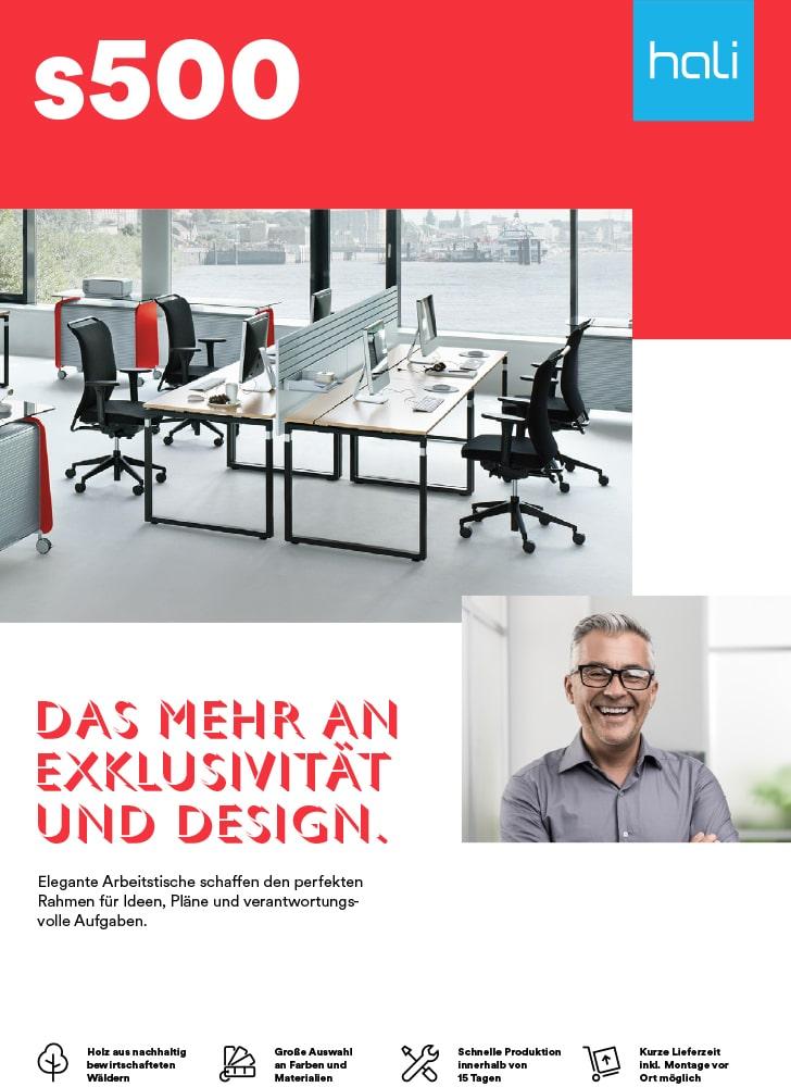 Titelblatt des Factsheets Arbeitstisch Serie s500 von hali.