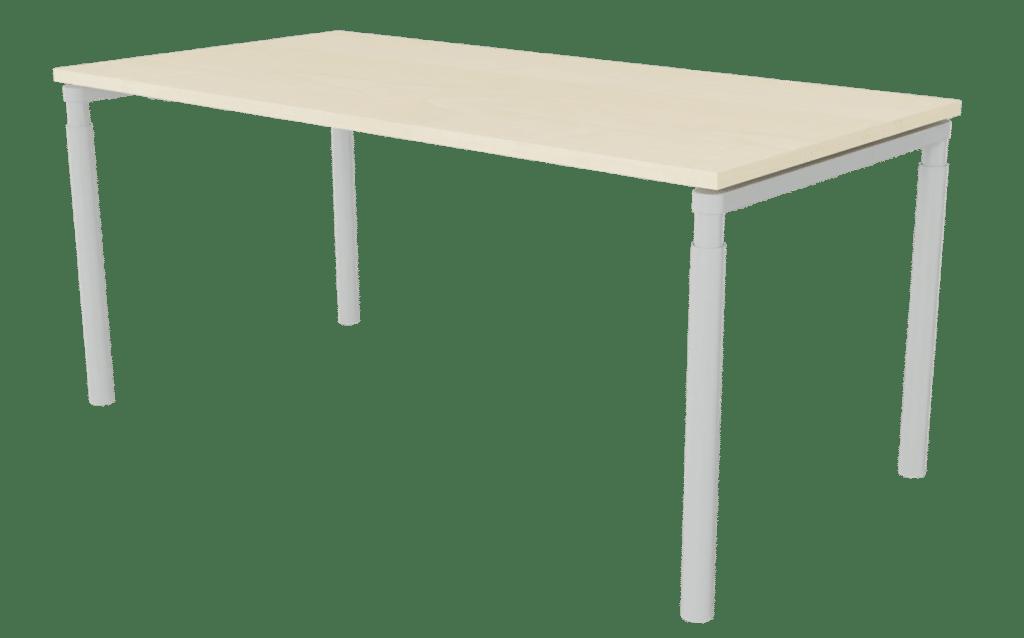 Tisch der Serie s100 mit 4-Fuß-Gestell in der Farbe Aluminium und Tischplatte in Melamin Ahornoptik.