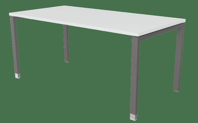 Tisch der Serie s100 mit T-Fuß-Gestell in der Farbe schiefergrau und Tischplatte in Melamin hellen grau.