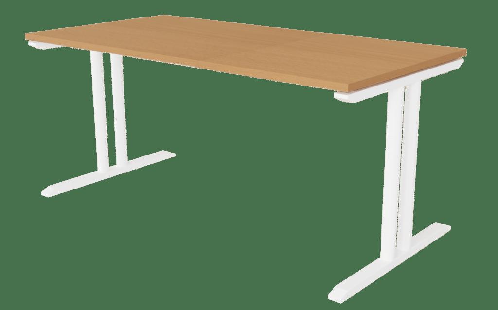 Tisch der Serie s400 mit T-Fuß-Gestell in der Farbe weiß und Tischplatte in Melamin Buchenoptik.