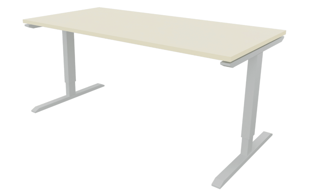 Tisch der Serie s400 mit T-Fuß-Gestell in der Farbe aluminium und Tischplatte in Melamin champagnerweiß.