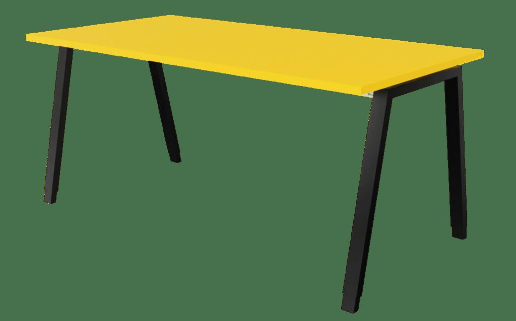 Tisch der Serie s400 mit A-Fuß-Gestell in der Farbe schwarz und Tischplatte in Melamin mangogelb.