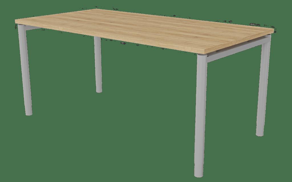 Tisch der Serie s400 mit 4-Fuß-Gestell in der Farbe grau und Tischplatte in Melamin Eichenoptik.
