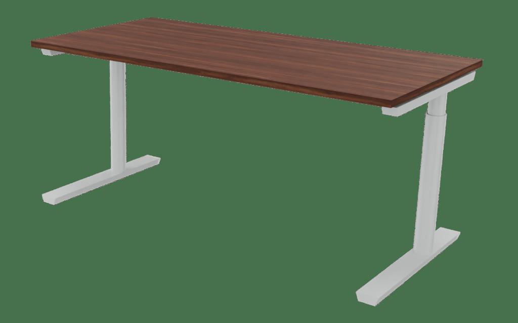 Arbeitstisch der Serie s400 von hali mit einem T-Fuß Tischgestell in Aluminium und Tischplatte in Melamin Nussoptik.
