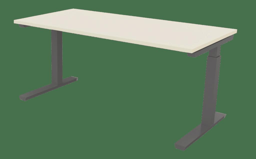 Arbeitstisch der Serie s400 von hali mit einem T-Fuß Tischgestell in schiefergrau und Tischplatte in Melamin champagnerweiß.