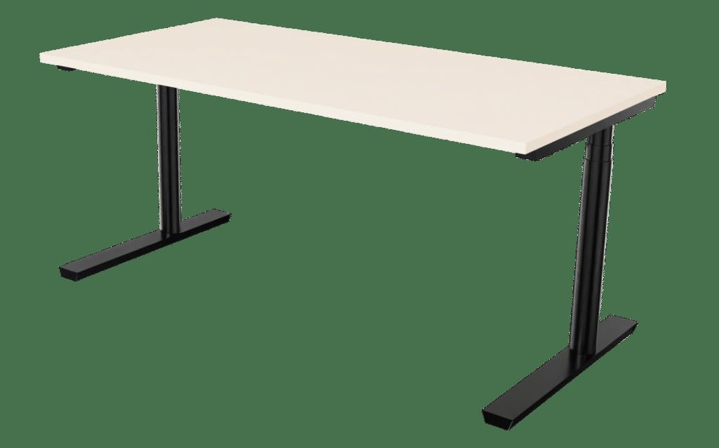 Sitz-Steh-Tisch der Serie s400 von hali mit einem T-Fuß Tischgestell in schwarz und Tischplatte in Melamin winterweiß.