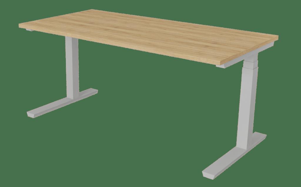 Sitz-Steh-Tisch der Serie s400 von hali mit T-Fuß Tischgestell in grau und Tischplatte in Melamin Eichenoptik.