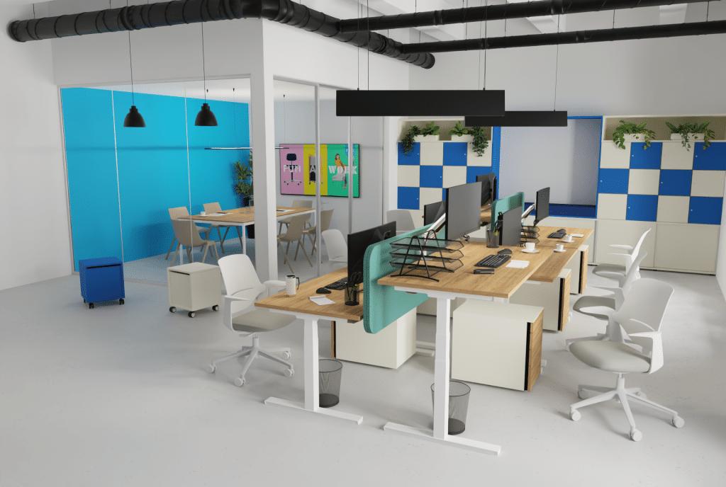 Großraumbüro mit Sitz-Steh-Tischen der Serie s100 mit weißem Gestell und Tischplatte Melamin in Holzoptik sowie akustischem Sichtschutz.